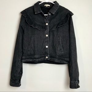 LE LIS Black Denim Jacket Ruffle Trim
